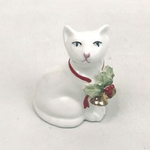 Vintage Harrods London Bone China Cat Figure Christmas White Holly Bells... - $29.69