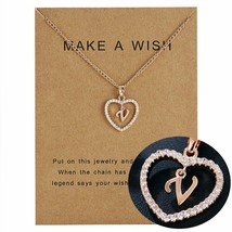 Women Necklace Heart Letter V Pendant Gold Clavicle Chains Choker Card J... - $13.95