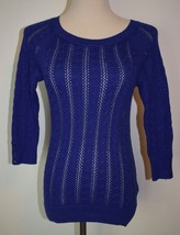 New American Eagle Sweater Medium Blue Scoop Neck 3/4 Sleeve Cotton Top - $21.46