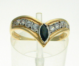Vintage 9ct Gold Sapphire & CZ Set  Wishbone Ring Birmingham 1990 - $77.89
