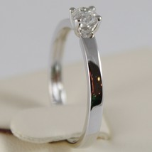 18K WHITE GOLD SOLITAIRE WEDDING BAND SQUARED RING DIAMOND 0.27 MADE IN ITALY image 2