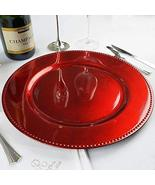 Beaded Round Charger Plates Dinner Chargers for Tabletop Decoration Red ... - $161.34
