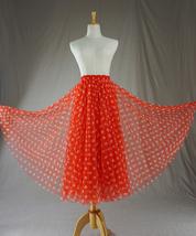 Women Polka Dot Skirt High Waisted Full Circle Tulle Skirt Polka Dot Party Skirt image 4