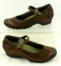 Merrell Plaza Mary Jane Saddle Shoes Womens 8 Brown Leather Suede Casual Flats - $34.64
