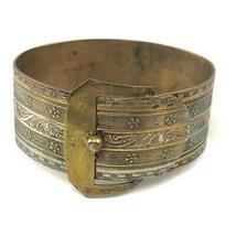 Antique Victorian brass buckle bangle bracelet - $29.69