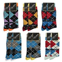 Pack of 12 Pairs of Berlioni Fashion Fancy Argyle Mens Dress Socks
