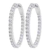 Rachel Koen Stunning Diamond Hoop Earrings 14K White Gold 2.70 Cttw - $3,500.00