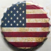 STARS & STRIPES USA AMERICAN FLAG EMBOSSED BOTTLE CAP METAL SIGN PLAQUE ... - £14.64 GBP