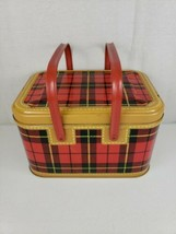 1950s Hamilton Tin Metal Skotch Picnic Basket By Petra Cabot Red Plaid V... - $97.99