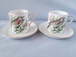 Royal Tuscan Tea Cups & Saucers 2 Fine Bone China Chestnut Warbler Audub... - $15.60