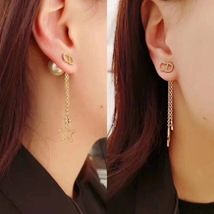 Authentic Christian Dior 2019 CD LOGO CHAIN STAR DANGLE DROP Earrings image 14