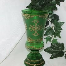 "LARGE GREEN SATIN GLASS VASE 10"" TALL HAND PAINTED GILT GOLD OVERLAY STU... - $43.97"