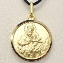 18K YELLOW GOLD SCAPULAR OUR LADY OF MOUNT CARMEL SACRED HEART MEDAL 19mm CARMEN image 6