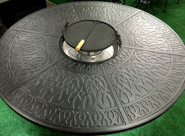Cast Aluminum 7 Piece Round Propane Firepit Dining Table Grand Tuscany Set image 4