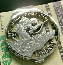 D-Day USA Silver Dollar Cut Coin Sterling Money Clip WWII Normandy 1944 ... - $247.50