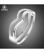 AZORA Double V Letter Design Best Clear Austrian Crystals White Gold Sim... - $17.20