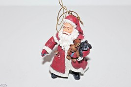 Santa Claus Holding Teddy Bears Christmas Tree Ornament Figure - $10.84