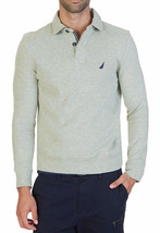 New Mens Nautica Windward Long Sleeve Grey Classic Fit French Ribbed Polo L $79 - $28.99