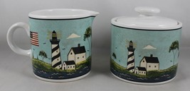 1998 Warren Kimble by Sakura COASTAL BREEZE Creamer & Sugar Sailboat  - $24.74