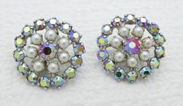VTG B. David Sign Red Clear Aurora Borealis Rhinestone Faux Pearl Clip Earrings - $29.70