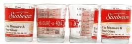 4  Count Sunbeam 2oz Measure And Pour Shot Glasses TBS TSP ML & Oz Measu... - $17.99