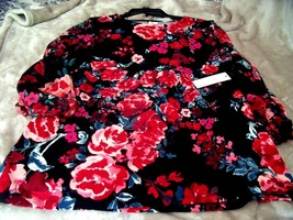 NEW Womens XXL ELLE Sheer Sleeves Floral TOP L/S Black W/ RED ROSES $40 ... - $32.62