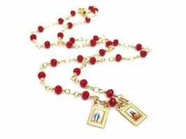 "LESLIE BOULES Scapular Gold Filled Necklace for Women 17"" Red Crystal Be... - $31.98"