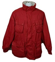 Nautica Fleece Lined Mens Jacket Red Size L Hooded - $42.08