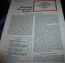Monthly Economic Letter First National City Bank NYC December 1962 - $13.98