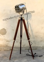 Handmade Chrome Spotlight Studio Floor Lamp Nautical Tripod Marine Searc... - $84.15