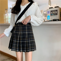 Women Navy Plaid Pleated Skirt Winter Wool Short Plaid Pleated Skirt Plus Size image 3
