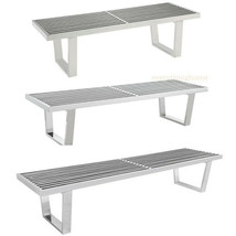George Nelson Bench Coffee Table Stainless Steel Slatted Silver 4 Ft 5 F... - €277,84 EUR