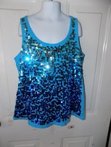 Justice Blue Sequence Tank Top Size 14 Girl's EUC - $16.91