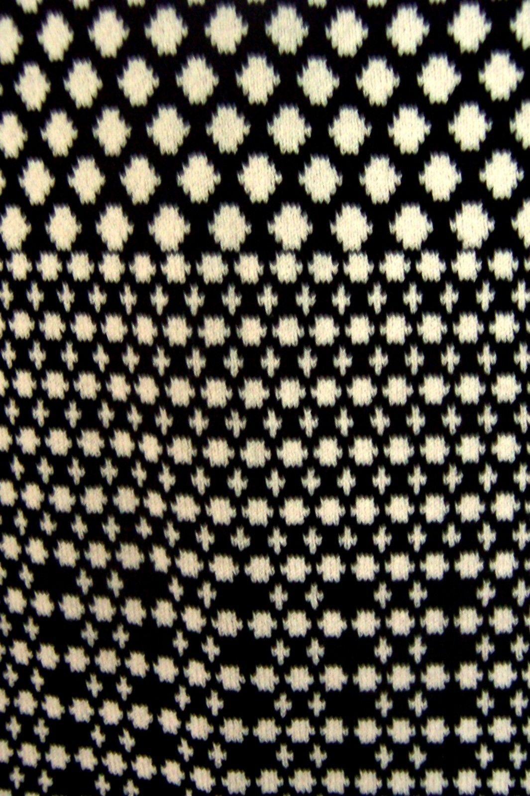 Sz M - Anne Klein Black & Tan Polka Dot Cap Sleeve Sweater Dress w/Ruffle Bottom
