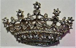 Vintage Jeweled Crown Pin Rhinestones Unsigned - $29.95