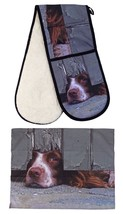 Curious Spaniel Perro 100% Algodón 88x18cm Guante Doble Horno & 55x70cm ... - $46.49
