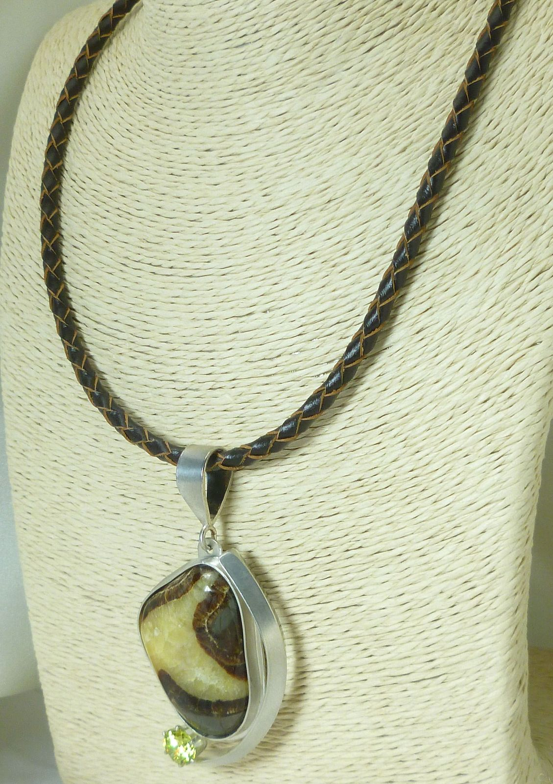 Utah Septarian Cabochon Gemstone Sterling Pendant with Braided Leather Cord