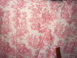 Shabby Romance French Country Life Cottage Pink Toile Chic Curtain Drape Set 3pc - $367.99