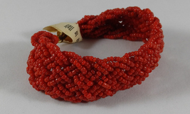 Rare Vintage 1950s Braided Coral Red Venetian Glass Seed Bead Bracelet Italy - $19.99