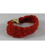 Rare Vintage 1950s Braided Coral Red Venetian Glass Seed Bead Bracelet I... - $19.99