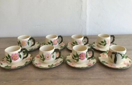 Set 8 Franciscan Desert Rose Cups and Saucers Made in California Arch Logo - $64.34