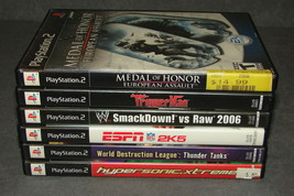 Playstation 2 PS2: 6 Game Lot - Medal of Honor + Smackdown Raw + Thunder... - $17.00