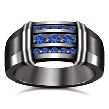 14k Black Gold Finish 925 Sterling Silver Mens Wedding Blue Sapphire Ban... - £74.58 GBP