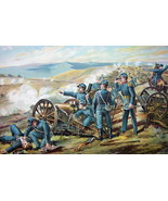 US ARMY in 1862 Field Batteries at Malvern Hill - COLOR Lithograph Antiq... - $25.20