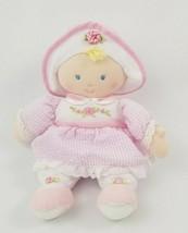 Kids Preferred Baby Doll Girl Plush Blonde Blue Eyes Pink White Stripe Dress - $14.84