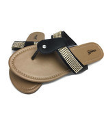 Capelli Women's Black Fancy Embellished Sandals Size 8 Jeweled Flip Flops - €25,37 EUR