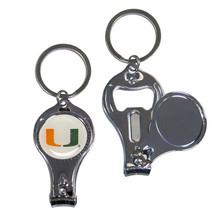 miami hurricanes logo ncaa 3 in 1 nail care bottle opener keychain - $18.04