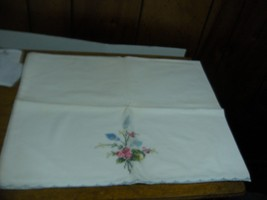 VINTAGE Embroidered Cotton Pillowcase  Cala lily 19  X 32 - $7.00