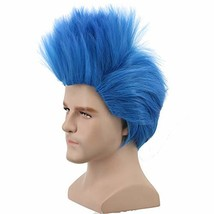 Yuehong Anime Short Layered Cosplay Wig Halloween Costume Party Blue Hai... - $21.65
