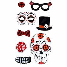 TRIXES Red Skull Floral Halloween Window Decorations - Gel Clings - $3.99